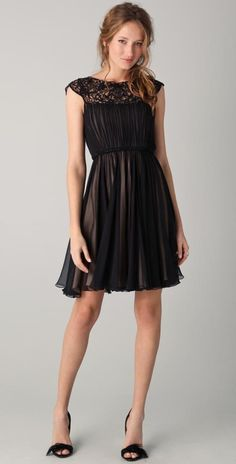 Chiffon Dress with Illusion Neckline by Marchesa I would have to lengthen it!