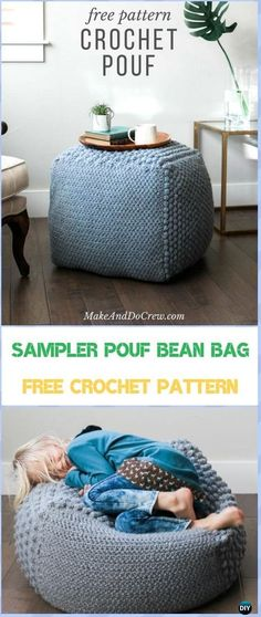 Crochet The The Sampler pouf Bean Bag Free Pattern &Video- #Crochet #Poufs & Ottoman Free Patterns