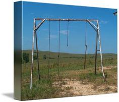 """Silence"" by Sandra Clayton, Wellington, Kansas // Flint Hills area of Kansas - near Cottonwood Falls, KS-abandoned swing set in abandoned school yard. // Imagekind.com -- Buy stunning fine art prints, framed prints and canvas prints directly from independent working artists and photographers."