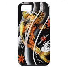 SOLD! - oriental japanese Gold Lucky Koi Fish tattoo iPhone 5 Case with Custom Name