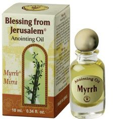 Blessing from Jerusalem,Myrrh - Anointing Oil 10 ml / 0.33 fl.oz | Yardenit.com | This anointing oil is made in the Land of the Bible using natural Galilee and Jerusalem virgin olive oils and scented with flowers and herb essence and characteristic of the Holy Land. Perfumed with Myrrh oil.