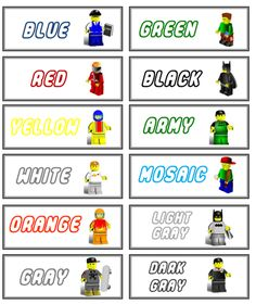 Link for printable labels for lego.
