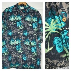 Carribean Men's Hawaiian Shirt XL Rayon Textured Tiki Button Up Beach Vacation #Hawaiian #Casual Mens Hawaiian Shirts, Navy Blue Background, Vera Bradley Backpack, Ebay Clothing, Flower Designs, Button Up, Texture, Vacation, Beach