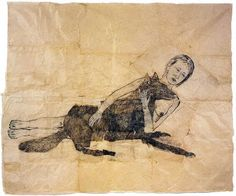 Kiki Smith Lying with the Wolf2001. Ink and pencil on paper, 72 1/4 x 88 inches. Photo by Kerry Ryan McFate. Courtesy PaceWildenstein, New York