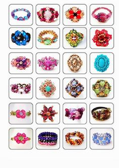 """loads of unique free diy ring patterns...look for her picasa web album """"Anillos paso a paso""""....free beaded ring patterns for over 100 different styles of beaded rings"""