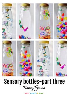 Sensory bottles are clear bottles that are filled up with a variety of materials that stimulate your children´s senses through sight, touch, smell, taste and hearing. Toddler Learning Activities, Baby Learning, Montessori Activities, Infant Activities, Activities For Kids, Montessori Baby, Montessori Bedroom, Learning Games, Calming Activities