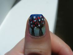 Miniature trees nails. Excuse the cuticle