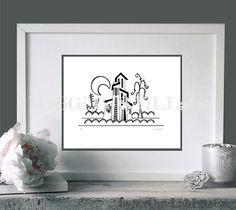 """""""Villa luna"""" Ilustración impresa sobre papel mate Clairefontaine, ligeramente texturizado, de 180 gr. Numeradas y firmadas. Tamaño 15 x 21 cm Pedidos/ To order: raquel@maggicosvillage.com"""