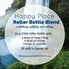 """happy place"" roller bottle blend revitilizes, uplifts, and calms-- LOVE this!! amazing find! there are tons of great roller bottle blends {and FREE super cute labels} for all kinds of emotions-- calm, focus, grounding, balance, gratitude, happy, energy, comfort, motivation, courage, confidence, cheer, creativity, and more!!"