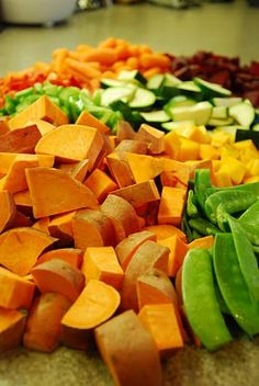 Sunday CHOP night - simply chop a handful of veggies and mixnmatch from this gal's blog for a week's worth of crockpot recipes