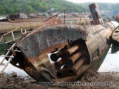 Submarine graveyard at Russia's Nezametnaya Cove http://1800recycling.com