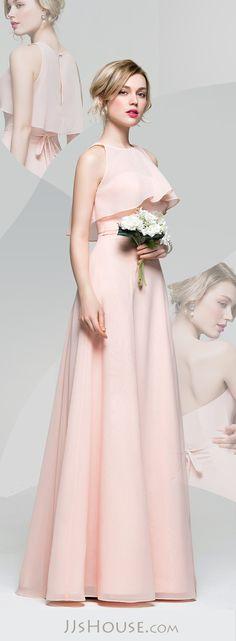 A-Line/Princess Sweetheart Floor-Length Chiffon Bridesmaid Dress With Bow(s)