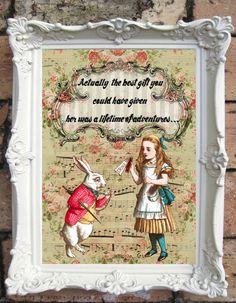 ALICE im Wunderland Decor Shabby Chic Decor Alice im Wunderland zitieren Drucken Vintage Alice Wall Art Alice Drucken Tea Party schäbig Frame C:A020