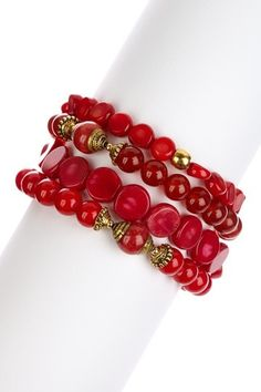 Mixed Red Coral Bracelet.