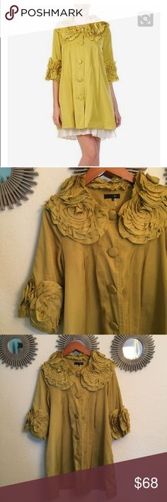 """Ryu Avocado dress/coat  DRESS COAT Avocado colored dress coat. Worn Twice. Super gorgeous!!! Perfect condition! 100% polyester. Dry clean only. Approx 16"""" bust. Approx 36"""" long. Big buttons and two slit pockets. So soft and comfy but dressy at the same time! Anthropologie Jackets & Coats"""