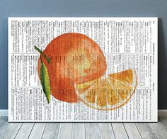 Cute Kitchen print. Beautiful Fruit poster for your home and office. Lovely Orange art. Nice modern Dictionary print.    SIZES: A4 (8.3 x 11) and