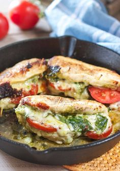 This amazing Pesto Stuffed Chicken recipe comes together in one skillet and takes only 30 minutes! Stuffed with Pesto, Tomatoes and Mozzarella cheese!