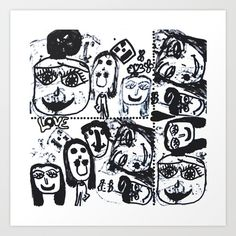 Collect your choice of gallery quality Giclée, or fine art prints custom trimmed by hand in a variety of sizes with a white border for framing. Black And White Canvas, White Art, Everything Free, Fine Art Prints, Canvas Prints, Painting For Kids, Funny Faces, Pop Art, Gallery