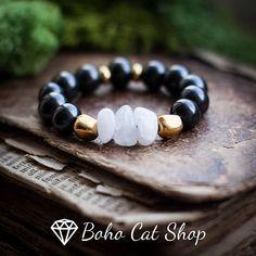 Shungite and Moonstone  bracelet EMF protection health crystal