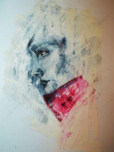 Daydreaming. by Bahira Motaz Shaheen. Gouache portrait.