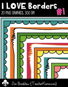 I LOVE Borders #1 clip art.  These frames are just perfect for TpT sellers, classroom organization, and scrapbook designers.  Commercial and personal use is ok.  TeacherKarma.com