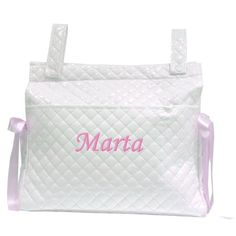 Mi Pipo - Bolso panera personalizado bebé blanco-rosa, color de bordado: rosa