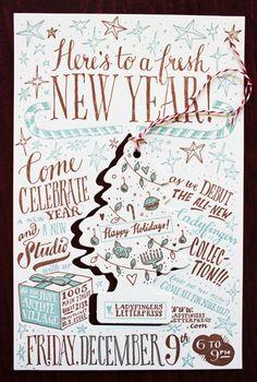 Ladyfingers Letterpress Holiday Party Invitation