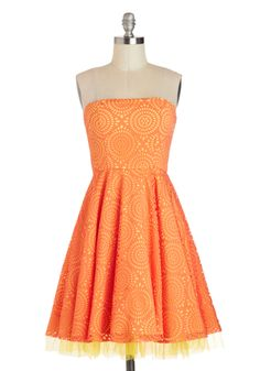 Citrus Burst Dress - Short, Orange, Yellow, Print, Daytime Party, A-line, Strapless, Wedding, Summer