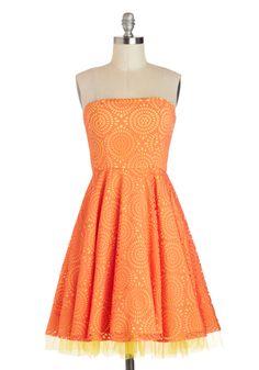 Citrus Burst Dress - Short, Orange, Yellow, Print, Daytime Party, A-line, Strapless, Wedding, Summer