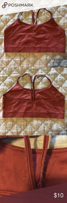 Gap racerback pullover bra Gap racerback pullover bra. Straps on back are a bit frayed (see detail pic), but otherwise no issues. Color is a rusty red. Price is firm and reflects this imperfection. GAP Intimates & Sleepwear Bras