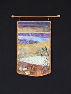 Everyday at the Beach is Different #1.  This is a new series of small art quilts by Eileen Williams.  It's so true....every day at the beach is different.