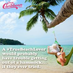A #TrueBeachLover would probably have trouble getting out of a hammock, if they ever tried.  #CheapCaribbean #TrueBeachLover #HammockDay