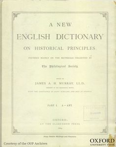The first fascicle of the Oxford English Dictionary. The publication contained 352 pages of Dictionary entries from A to Ant, costing 12s.6d. Over the next 44 years, 125 fascicles were published to form the first edition of the OED. The OED editors are currently working on the third edition. #dictionaries #language #books (Image: OUP Archives)