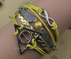 Infinity and snitch bracelet harry potter wax rope by braceletshow, $4.99
