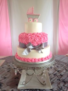 Baby Shower Cake but would change the pink to blue and no carriage