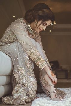 New Indian Bridal Dress Engagement Desi Wedding Ideas Pakistani Wedding Outfits, Pakistani Wedding Dresses, Pakistani Dress Design, Bridal Outfits, Dress Wedding, Wedding Shoes, Bridal Shoes, Party Outfits, Hair Wedding