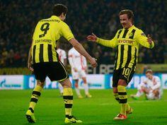 Mario Goetze celebrates Borussia Dortmund's second goal - Big victory
