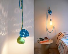 [ ⌂ ] nuevas lamparas en casa Crochet Lamp, Diy Crochet, Lampshade Chandelier, Lamp Cover, Crochet World, Macrame Bag, Lamp Light, Recycling, Sweet Home