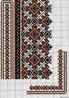 Beading _ Pattern - Motif / Earrings / Band ___ Square Sttich or Bead Loomwork ___ Gallery.ru / Фото - Без названия - olgavovk Cross Stitch Borders, Cross Stitch Charts, Cross Stitch Designs, Cross Stitching, Cross Stitch Patterns, Folk Embroidery, Cross Stitch Embroidery, Embroidery Patterns, Loom Patterns