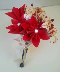 Paper Flower Valentines Day Red Lily Daisy Posy Bouquet Sweetheart Love £16.00