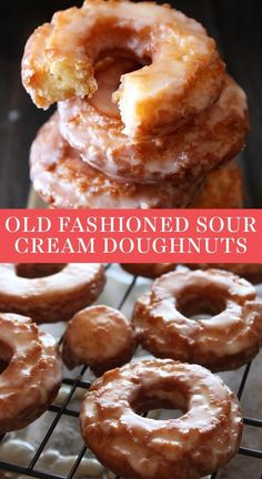 Homemade Old-Fashioned Sour Cream Doughnuts are coated in glaze and taste just like the cakey ones at your favorite bakery! No yeast makes this fried recipe simple. #oldfashioneddonut #sourcreamdoughnut #oldfashioned Best Dessert Recipes, Fun Desserts, Sweet Recipes, Delicious Desserts, Yummy Food, Dessert Healthy, Easy Recipes, Vegan Recipes, Beignets