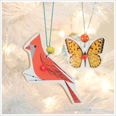 Ornaments out of puzzle pieces.  A great way to save a piece of a favorite childhood puzzle.