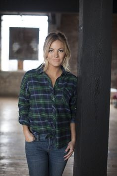 green and blue plaid flannel shirt Becca Tilley's Favorties. Love he flannel and she's stunning!