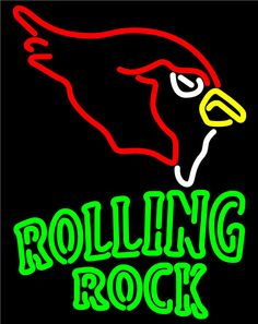 Rolling Rock Arizona Cardinals NFL Neon Beer Sign, Rolling Rock with NFL Neon Signs | Beer with Sports Signs. Makes a great gift. High impact, eye catching, real glass tube neon sign. In stock. Ships in 5 days or less. Brand New Indoor Neon Sign. Neon Tube thickness is 9MM. All Neon Signs have 1 year warranty and 0% breakage guarantee.
