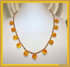 Gold Rope Chain & Amber CITRONS Necklace Sparkling OOAK Statement Necklace   14k Gold Plated Chain -   by TheUneekBouteek