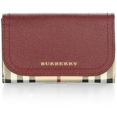 Burberry Soft Grain Haymarket Card Case (1,405 PEN) ❤ liked on Polyvore featuring bags, wallets, card holder wallet, burberry wallet, snap wallet, burberry bags and leather snap wallet