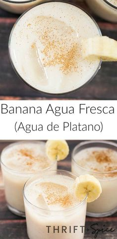 Banana Agua Fresca (Agua de Platano) Banana agua fresca or agua de platano is one of the most delicious beverages you will ever try. It's perfect during the hot summer months and kids love it! Juice Smoothie, Smoothie Drinks, Smoothie Recipes, Smoothies, Mexican Drinks, Mexican Food Recipes, Fruit Drinks, Healthy Drinks, Alcoholic Drinks
