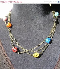 ON SALE Day of the Dead Jewelry Necklace by donnaelizabethdesign, $39.99