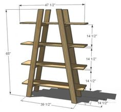 I want to make this!  DIY Furniture Plan from Ana-White.com  Four open large shelves in the shape of truss.