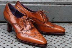 Woolfe Wingtip Caramel Calfskin, 70mm Heel by Carmina | Epaulet New York